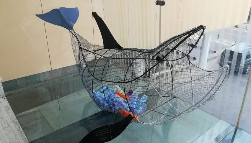 Whale Sculpture to encourage plastic recycling in Ayia Napa