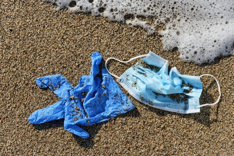 closeup of a blue used surgical mask and a blue latex glove thrown on the wet sand of the seashore of a beach